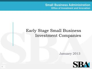 Early Stage Small Business Investment Companies
