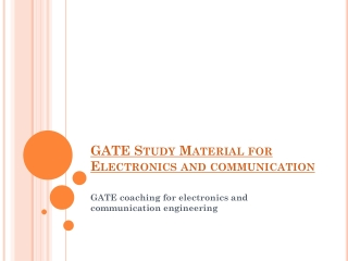 GATE Study Material for Electronics and communication