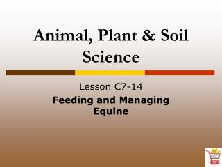 Animal, Plant  Soil Science