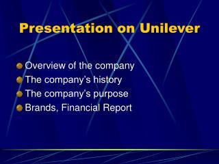 Presentation on Unilever
