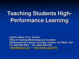 Teaching Students High-Performance Learning