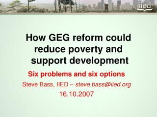 How GEG reform could reduce poverty and   support development
