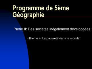 Programme de 5 me G ographie