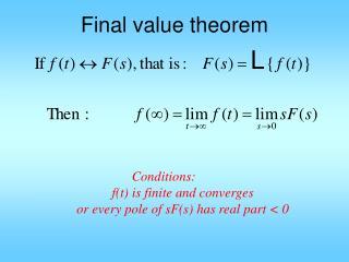 Final value theorem