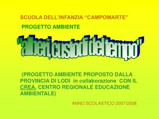 SCUOLA DELL INFANZIA  CAMPOMARTE                       PROGETTO AMBIENTE       PROGETTO AMBIENTE PROPOSTO DALLA PROVINCI