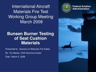 International Aircraft Materials Fire Test Working Group Meeting  March 2008