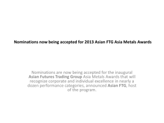Nominations now being accepted for Asian-FTGcom