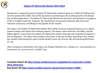 Global LTE Metrocells Market 2018 Forecast in New Research R