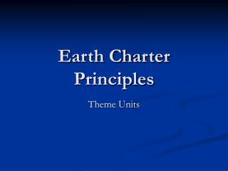 Earth Charter Principles