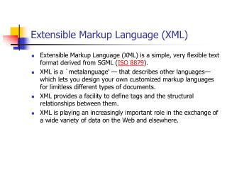 Extensible Markup Language XML