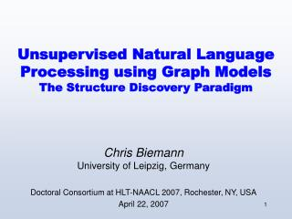 Unsupervised Natural Language Processing using Graph Models The Structure Discovery Paradigm