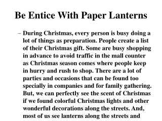 Be Entice With Paper Lanterns