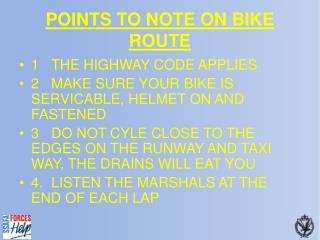 POINTS TO NOTE ON BIKE ROUTE