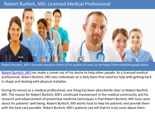 Robert Burkich MD