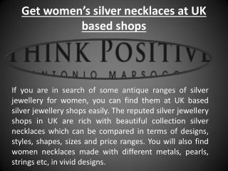 Buy Sterling Silver jewellery necklaces