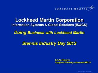 Lockheed Martin Corporation Information Systems  Global Solutions ISGS