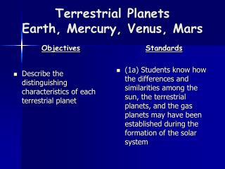 Terrestrial Planets Earth, Mercury, Venus, Mars