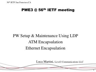PWE3  56th IETF meeting