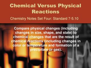 Chemical Versus Physical Reactions