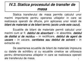 IV.3. Statica procesului de transfer de masa