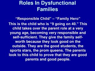 Roles In Dysfunctional Families