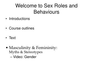 Welcome to Sex Roles and Behaviours