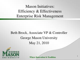 Mason Initiatives: Efficiency  Effectiveness Enterprise Risk Management