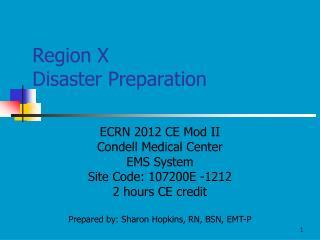 Region X Disaster Preparation