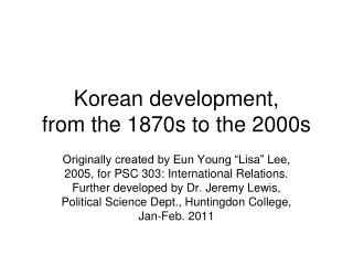 Korean development,  from the 1870s to the 2000s