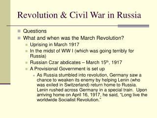 Revolution  Civil War in Russia