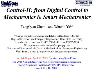 Control-II: from Digital Control to Mechatronics to Smart Mechatronics