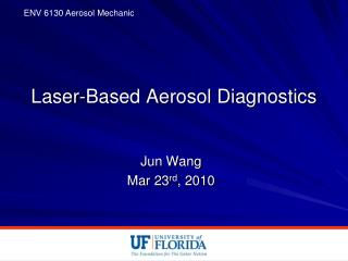 Laser-Based Aerosol Diagnostics