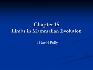 chapter 15 limbs in mammalian evolution