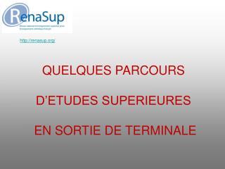 QUELQUES PARCOURS   D ETUDES SUPERIEURES   EN SORTIE DE TERMINALE