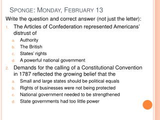 Sponge: Monday, February 13