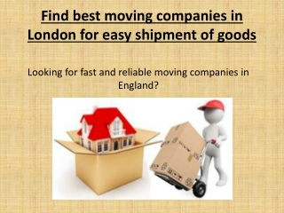 Moving Companies London And Europe