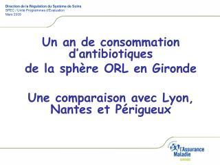 Un an de consommation d antibiotiques  de la sph re ORL en Gironde  Une comparaison avec Lyon,  Nantes et P rigueux