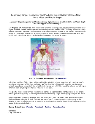 Legendary Singer-Songwriter and Producer Bunny Sigler Releas