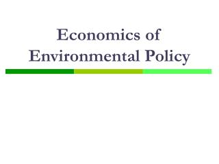 economics of environmental policy