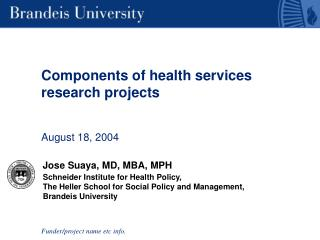 Components of health services research projects   August 18, 2004