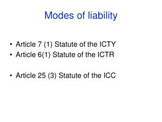 Modes of liability