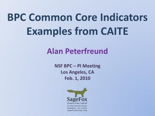 BPC Common Core Indicators Examples from CAITE
