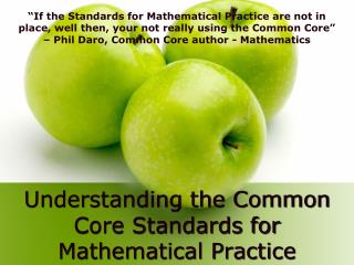 Understanding the Common Core Standards for Mathematical Practice