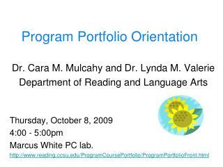 Program Portfolio Orientation