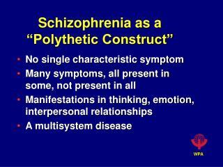 Schizophrenia as a  Polythetic Construct