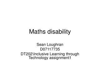 Maths disability
