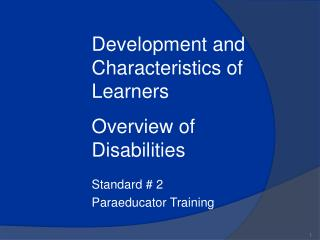 Standard  2 Paraeducator Training