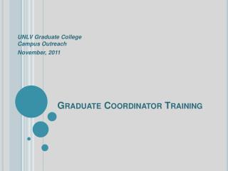 Graduate Coordinator Training