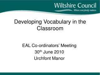 Developing Vocabulary in the Classroom
