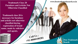 Trademark Class 20 | Furniture and Articles